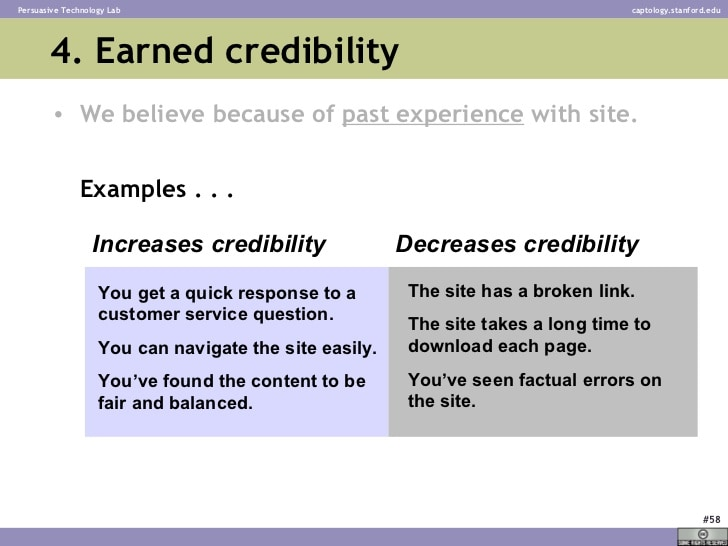 La crédibilité acquise