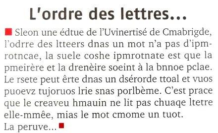 Un texte (l'ordre des lettres)